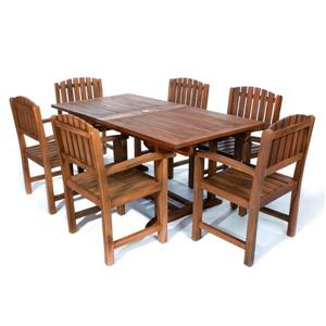 Set of 6 chairs and 1 teak table - Blue cushion