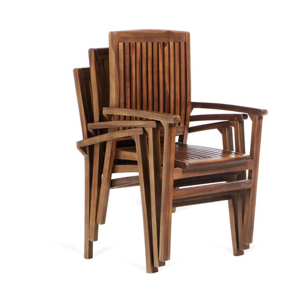 All Things Cedar Set of 4 chairs and an extendable teak table - Red Cushion