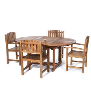 All Things Cedar Set of 4 chairs and an oval extendable table- White Cushion