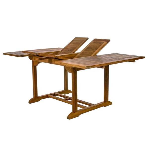 Ensemble table et 4 chaises en teck avec coussin bleu