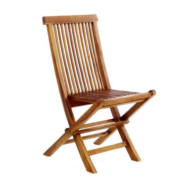 Ensemble table et 8 chaises pliantes en teck, Coussin Rouge