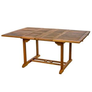 Ensemble table et 8 chaises pliantes en teck, Coussin bleu
