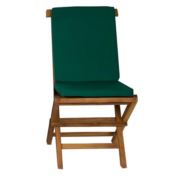 9-Pc Teak Folding Set - Green Cushion