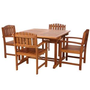 5-Pc Teak Dining Chair Set - Green Cushion