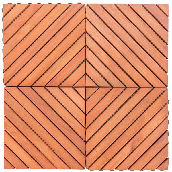 """Emboîtement 12 diagonales et à lamelles, 11,8"""", bois, 10 mcx"""