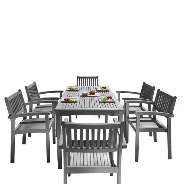 Ens. de salle à manger Renaissance, acacia, gris, 7 mcx