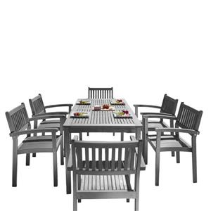 Renaissance Dining Set - Acacia - Gray - 7 pcs
