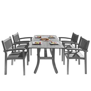 Renaissance Dining Set - Acacia - Gray - 5 pcs