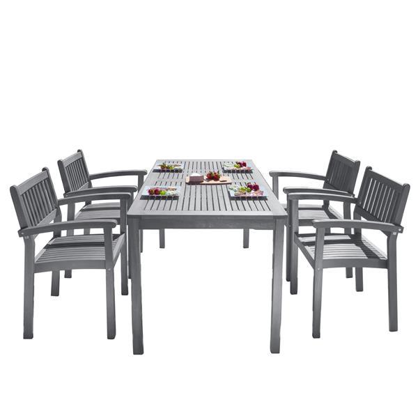 Vifah Renaissance Dining Set - 59-in - Wood - Gray - 5 Pcs