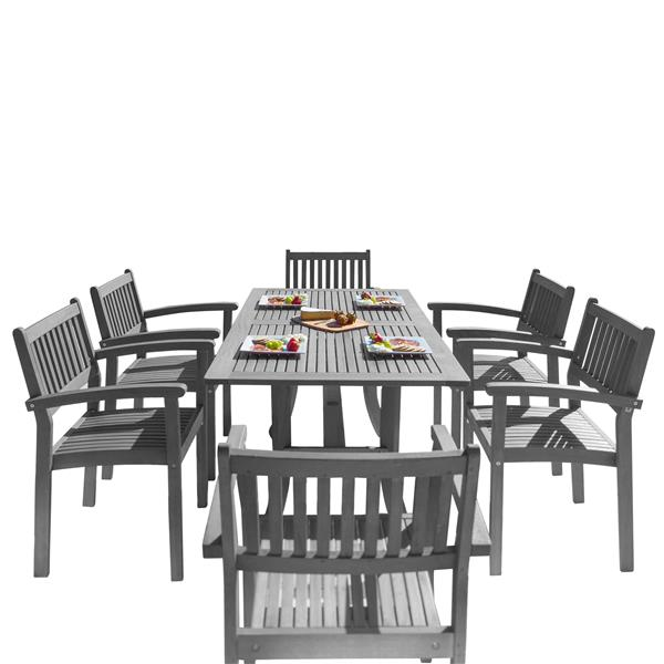 "Renaissance Dining Set - 59"" - Wood - Gray - 7 pcs"