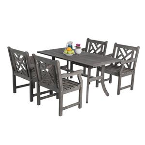 Vifah Renaissance Dining Set - Wood - Gray - 5 pcs