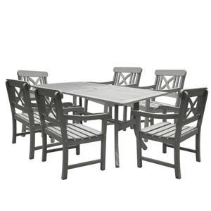 Renaissance Dining Set - Wood - Gray - 7 pcs