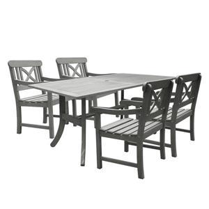 Ens. de salle à manger Renaissance, acacia, gris, 5 mcx