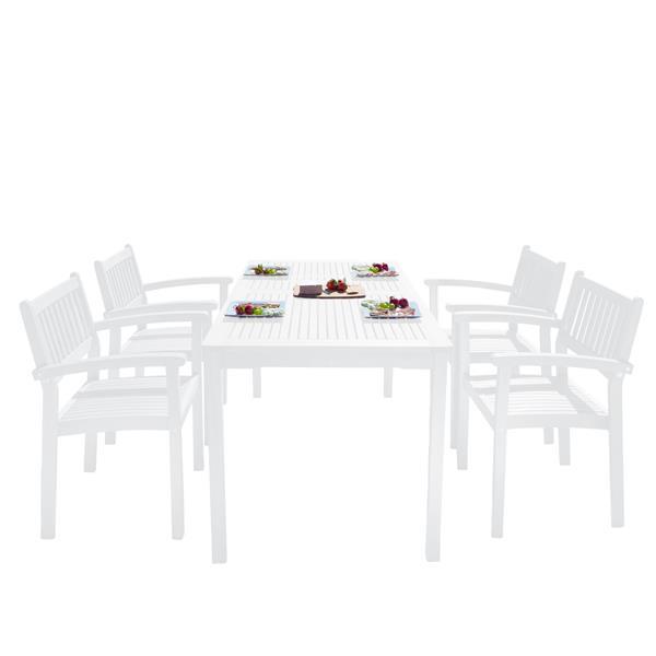 Ens. de salle à manger Bradley, bois, blanc, 5 mcx