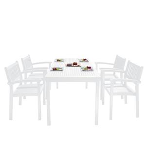 Vifah Bradley Dining Set - Wood - White - 5 pcs