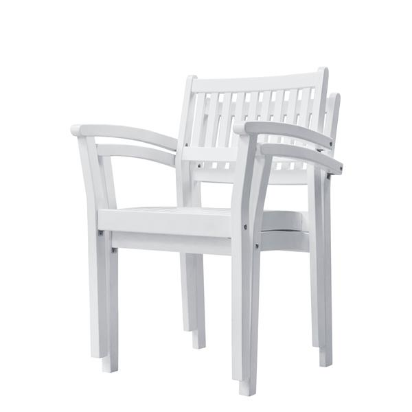 Vifah Bradley Dining Set - Wood - White - 7 pcs