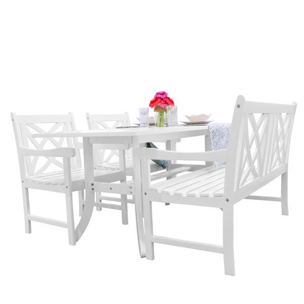 Ens. de salle à manger Bradley, bois, blanc, 4 mcx