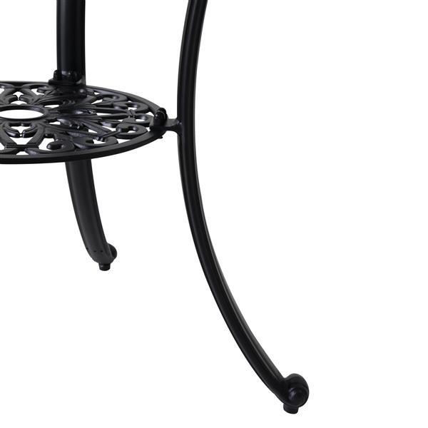 Vifah Paracelsus Outdoor Table - 31.5-in x 28-in - Aluminum - Black