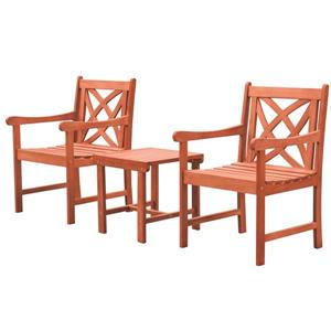Malibu Outdoor Dining Set - Wood - Natural - 3 pcs
