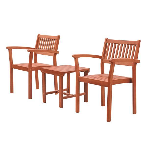 Vifah Malibu Outdoor Dining Set - Wood - Natural - 3 pcs