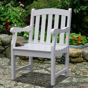 "Chaise de jardin Bradley, 22"" x 17"", bois, blanc"