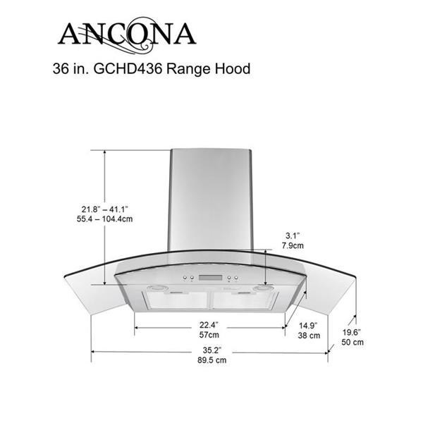 """Hotte auvent en verre à fixation murale Ancona GCHD436 36"""""""