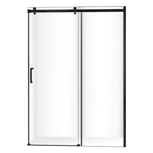 "Jade Bath Quartz Sliding Shower Door Matte Black Hardware 60""x78.75"""