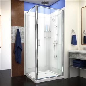 Cabine de douche Flex, 32 po, acrylique, blanc