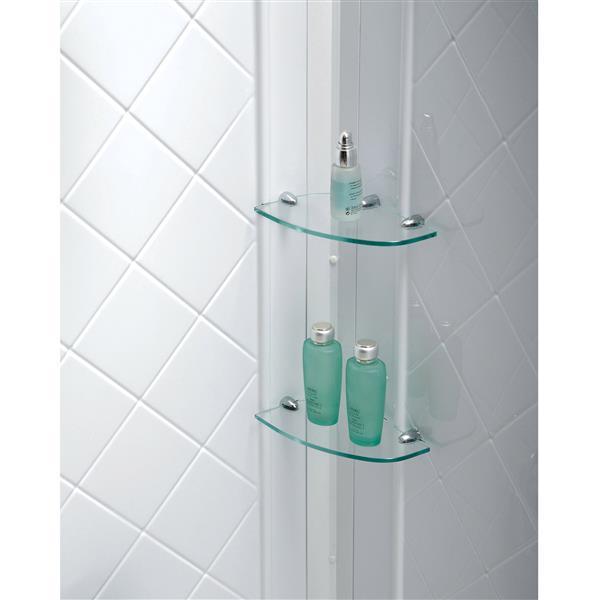 Ens. de base de douche QWALL-5, 36 po, acrylique, blanc
