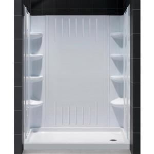 Ens. de base de douche QWALL-3, 36 po, acrylique, blanc