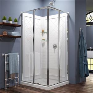 DreamLine Cornerview Sliding Shower Enclosure - 36-in - White