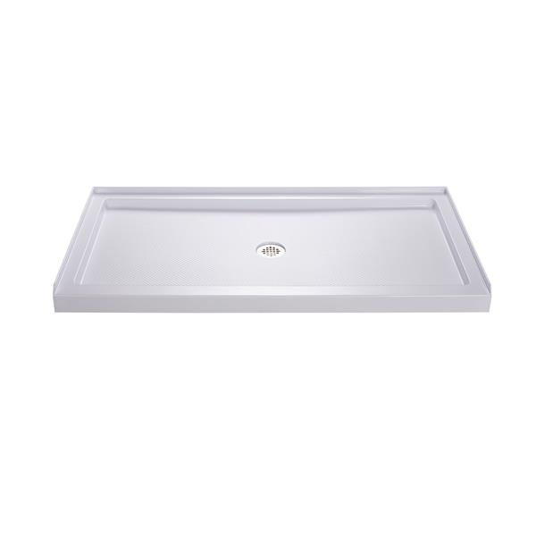 Base de douche SlimLine, 36 po x 60 po X 2,75 po, acrylique, blanc