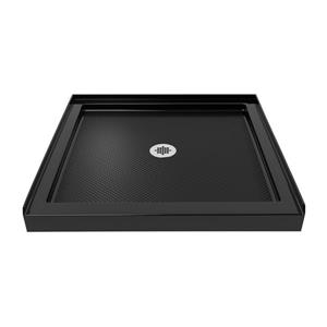 Base de douche SlimLine, 36 po x 36 po, acrylique, noir