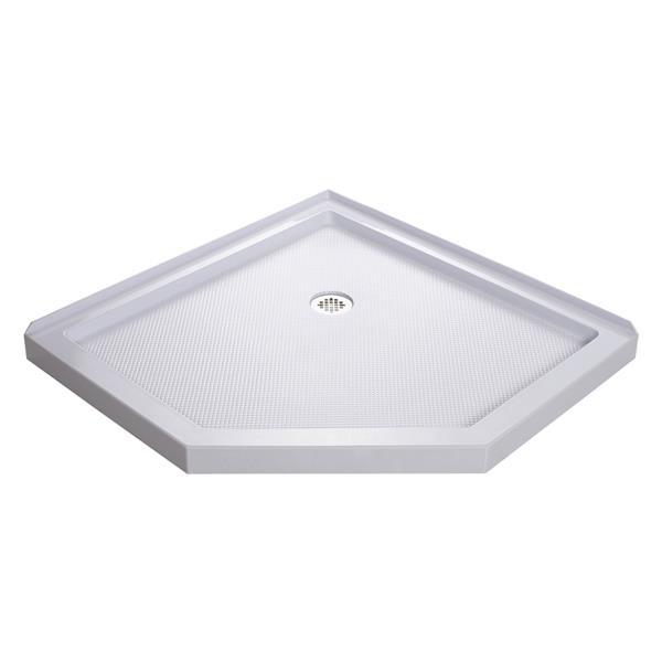 Base de douche SlimLine, 40 po x 2,75 po, acrylique, blanc