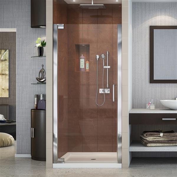 Porte de douche pivotante Elegance, 36 po x 72 po, chrome
