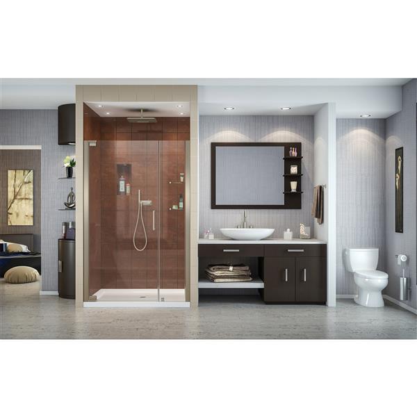 Porte de douche pivotante Elegance, 48 po x 72 po, nickel
