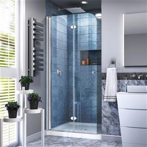 Porte de douche pliante Aqua Fold, 33,5 po x 72 po, chrome