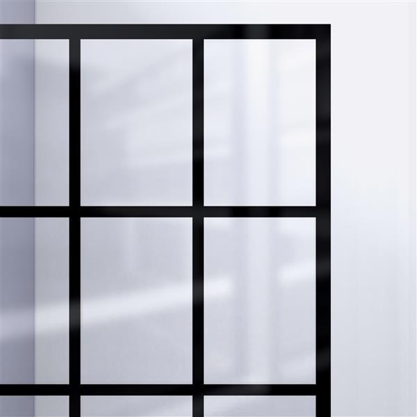 Porte de douche fixe French Linea, 34 po x 72 po, noir