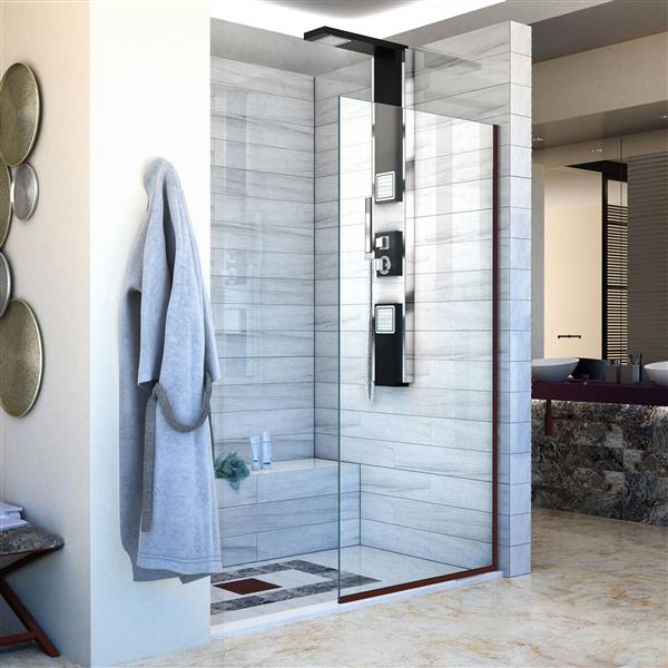 DreamLine Linea Fixed Shower Door - 34-in x 72-in - Bronze
