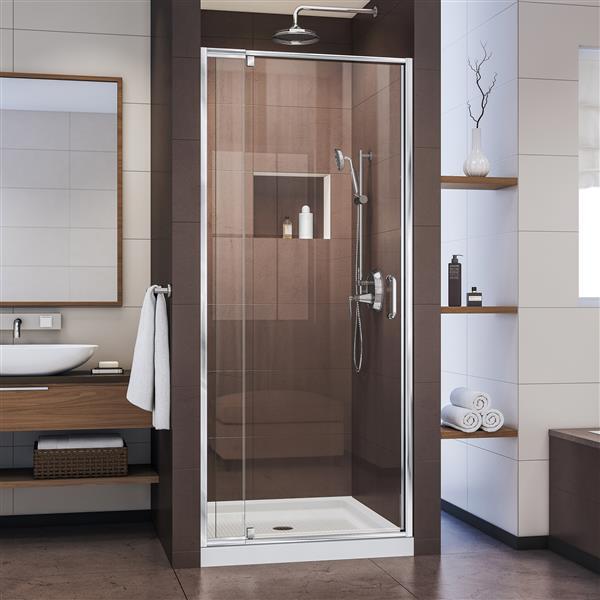 Porte de douche pivotante Flex, 36 po x 72 po, chrome