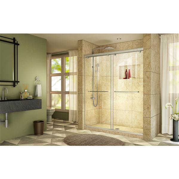 Porte de douche coulissante Charisma, 60 po x 76 po, chrome