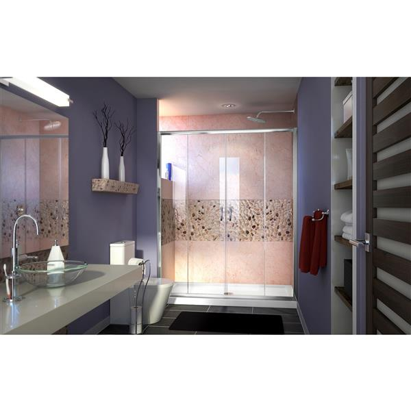 Porte de douche coulissante Visions, 60 po x 72 po, chrome