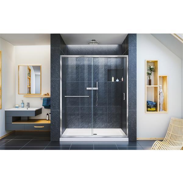 Porte de douche coulissante Infinity-Z, 60 po x 72 po, chrome
