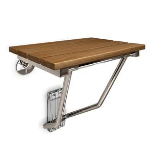 DreamLine Shower Seat - 20-in x 19-in - Wood - Chrome