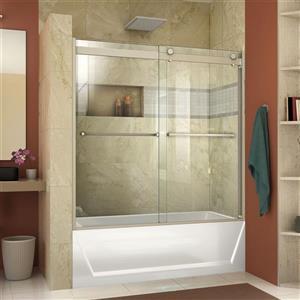 Porte de douche Essence-H, 60 po x 60 po, verre, nickel