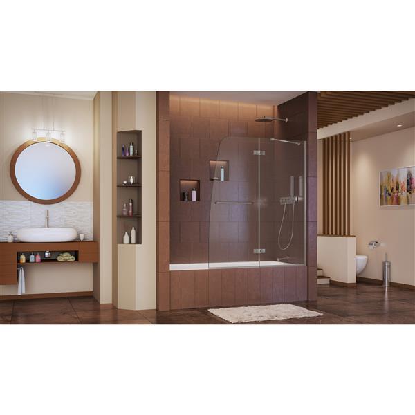 DreamLine Aqua Ultra 48 po W Porte de baignoire - Nickel