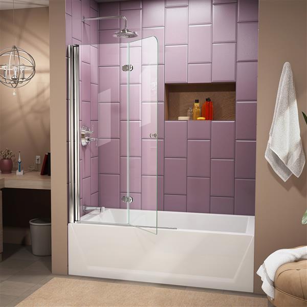 DreamLine Aqua Fold 36 po W Porte de baignoire - Chrome