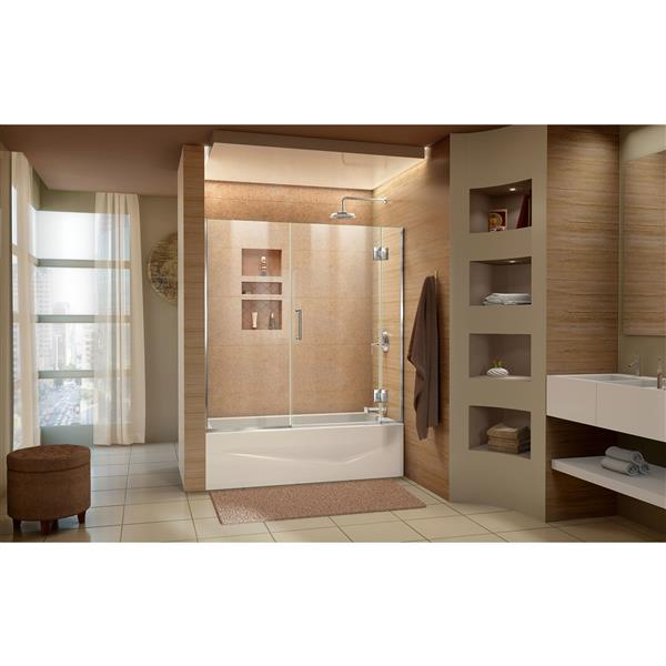 DreamLine Unidoor-X 58-58.5 po W Porte de baignoire - Chrome