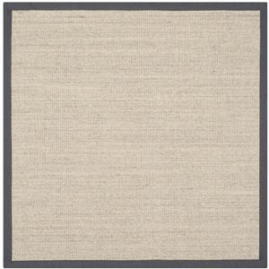 Safavieh Natural Fiber Border Rug - 4' x 4' - Marble/Gray