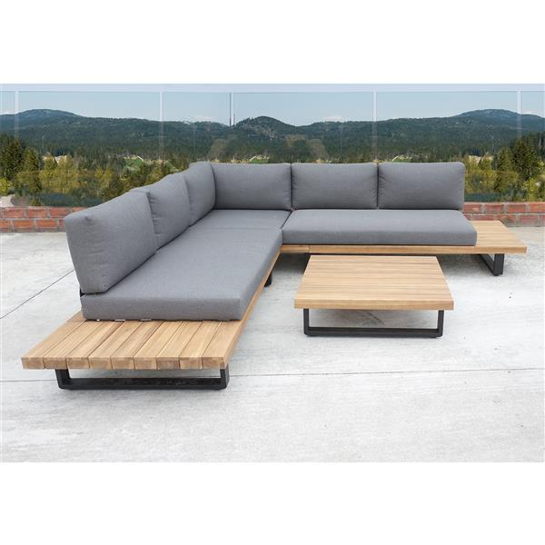 Haven Patio Conversation set - Grey and Acacia Wood